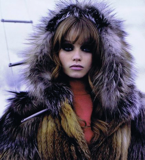 abbey lee, fur photoshoot, fur hood, chanel fur
